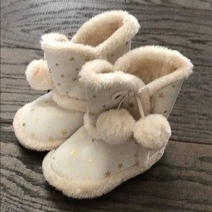 Koala kids toddler cream gold star fur slippers